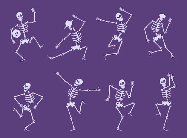 Esqueleto bailando. bailarines de personajes divertidos de fiesta posan en conjunto de vectores de huesos de calavera de fiesta de halloween. ilustración del cuerpo del esqueleto, halloween de miedo y horror