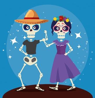 Esqueleto bailando con catrina para la celebración del día de los muertos