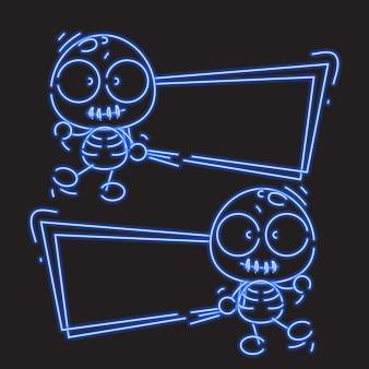 Esqueleto en la bandera de neón azul