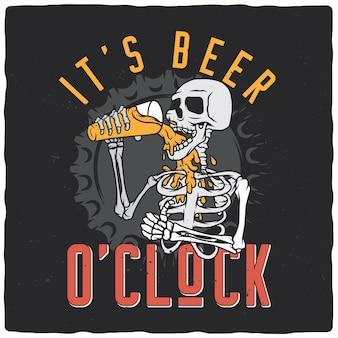 Esqueleto bebiendo cerveza