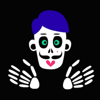 Esqueleto y cráneo de un hombre zombie. una calavera para el diseño conceptual de la celebración del día de muertos. ilustración vectorial