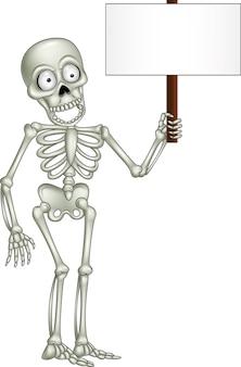 Esqueleto de dibujos animados con cartel en blanco