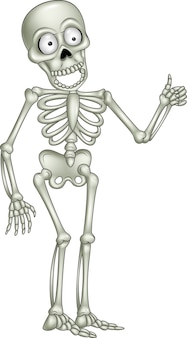 Esqueleto de dibujos animados dando pulgar