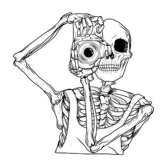 Esqueleto dibujado a mano en blanco y negro con cámara