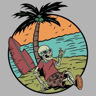 Esqueleto escalofriante con cóctel verano y playa