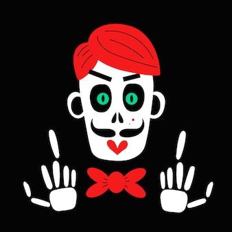 Un esqueleto espeluznante y el cráneo de un hombre zombie ilustración vectorial
