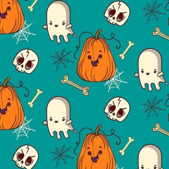 Esqueleto de fantasma de calabaza de patrón de halloween