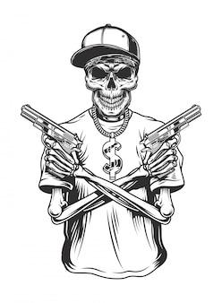 Esqueleto gángster con pistolas