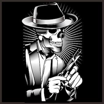 Esqueleto gángster con revólveres en traje.