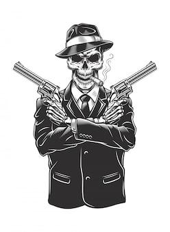 Esqueleto gángster con revólveres