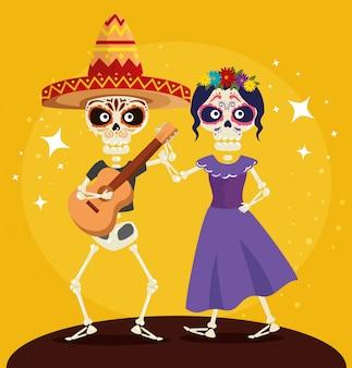 Esqueleto con guitarra bailando con catrina