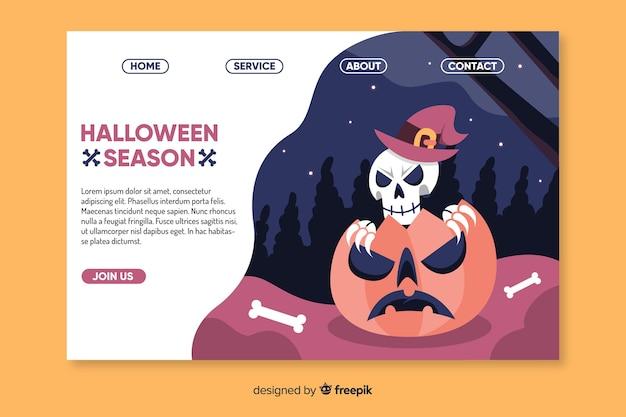 Esqueleto de halloween plano en página de inicio de calabaza