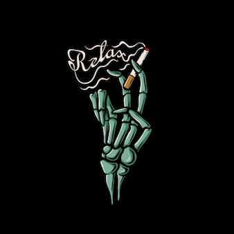 Esqueleto mano sujetando cigarrillo y relajarse ilustración