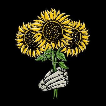 Esqueleto manos sosteniendo girasol ilustración