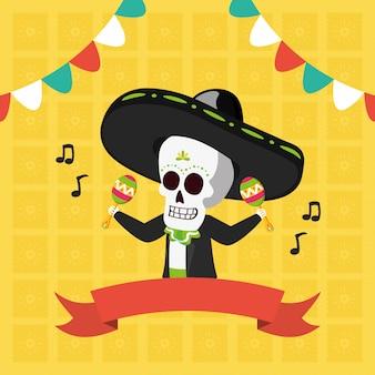 Esqueleto con maracas