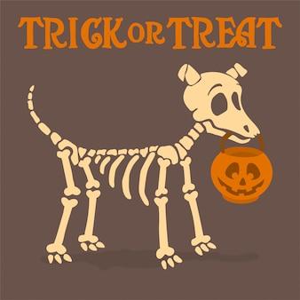 Esqueleto de perro con calabaza