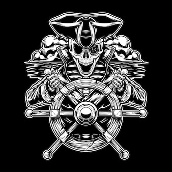Esqueleto pirata en el mar