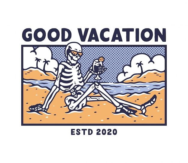 Esqueleto relajante en la playa