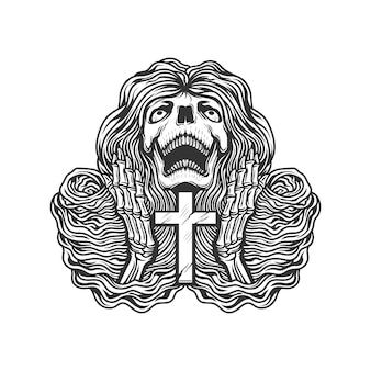 Esqueleto rezando con cruz
