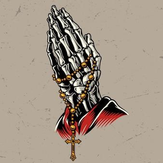 Esqueleto rezando manos con rosario