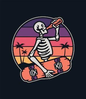 Esqueleto skater con una tabla premium