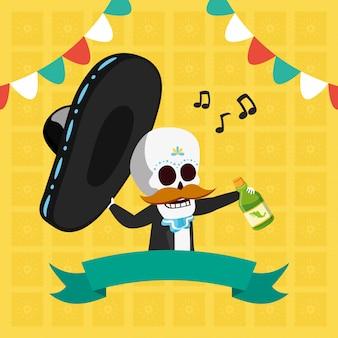 Esqueleto con sombrero bigote y bebida
