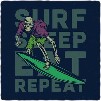 Esqueleto en tabla de surf
