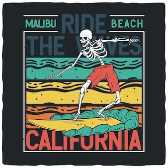 Esqueleto con tabla de surf