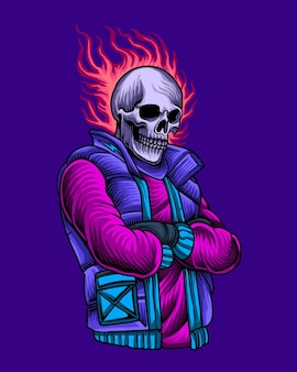 Esqueleto urbano con cabeza de calavera de fuego