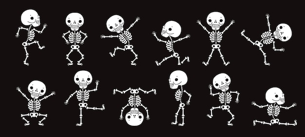 Esqueletos bailando. lindos bailarines de esqueleto de halloween, divertidos personajes de terror vector conjunto aislado. ilustración esqueleto fiesta de halloween, carácter hueso humano