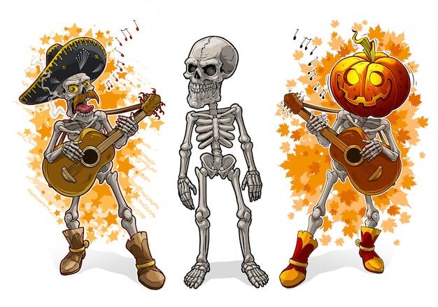 Esqueletos de dibujos animados con sombrero de calabaza y guitarra