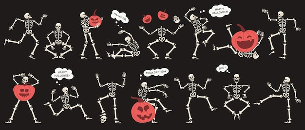 Esqueletos de halloween con calabazas personajes de esqueletos de fiesta espeluznante conjunto de ilustraciones vectoriales