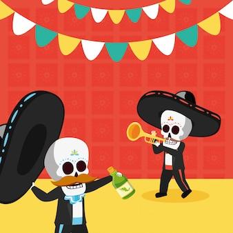 Esqueletos con trompeta y botella de tequila
