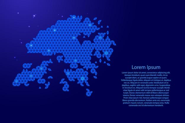 Esquema abstracto del mapa de hong kong a partir de triángulos azules que repiten el fondo geométrico con nodos y estrellas para pancarta, póster, tarjeta de felicitación.