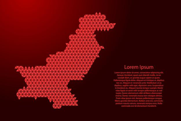 Esquema abstracto del mapa de pakistán a partir de triángulos rojos