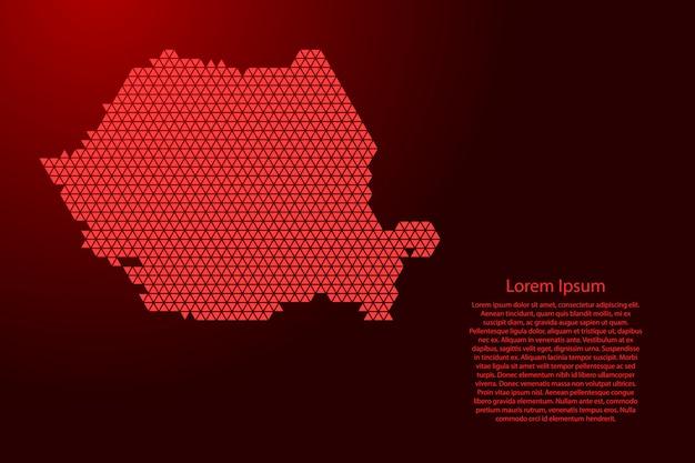 Esquema abstracto de mapa de rumania de triángulos rojos