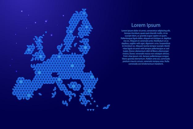 Esquema abstracto del mapa de la unión europea a partir de triángulos azules que repiten el fondo geométrico con nodos y estrellas para pancarta, póster, tarjeta de felicitación.