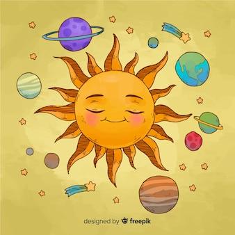 Esquema adorable de sistema solar en acuarela