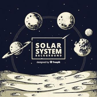 Esquema adorable de sistema solar dibujado a mano