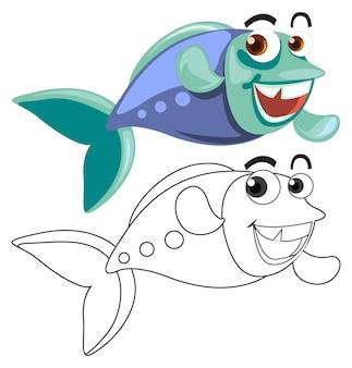Esquema animal para peces nadando.