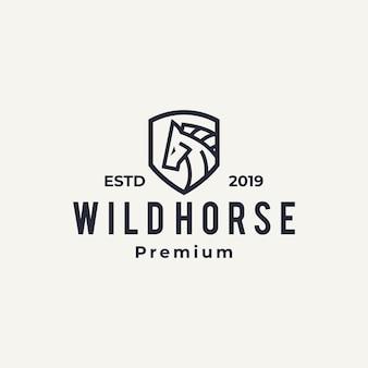 Esquema de arte de línea de icono de logotipo de caballo