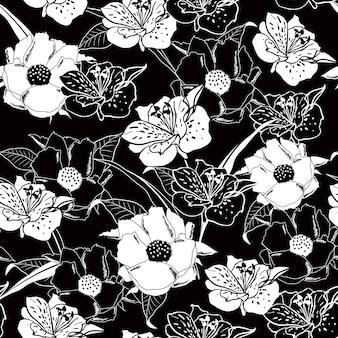 Esquema blanco y negro patrón floral transparente.