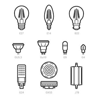 Esquema de bombillas de lámpara de luz led en fondo blanco