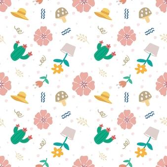 Esquema de un bosquejo de flores únicas con otros objetos con iconos y elementos de diseño de color