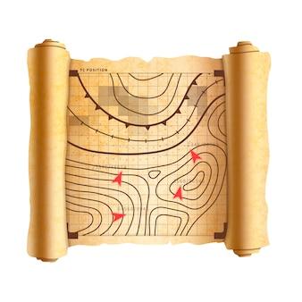Esquema del campo de batalla con objetivos en el antiguo pergamino texturizado, mapa vintage en blanco