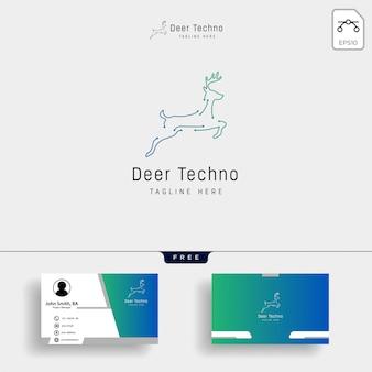 Esquema de ciervos línea arte logo vector icono plantilla