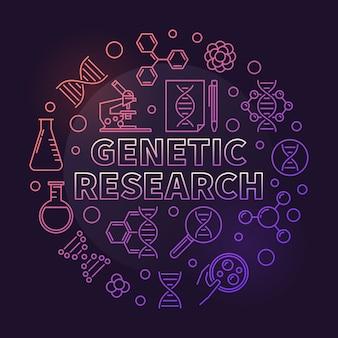 Esquema circular colorido de investigación genética