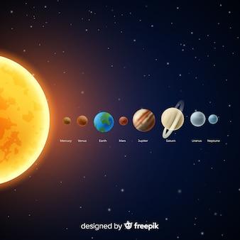 Esquema clásico de sistema solar con diseño realista