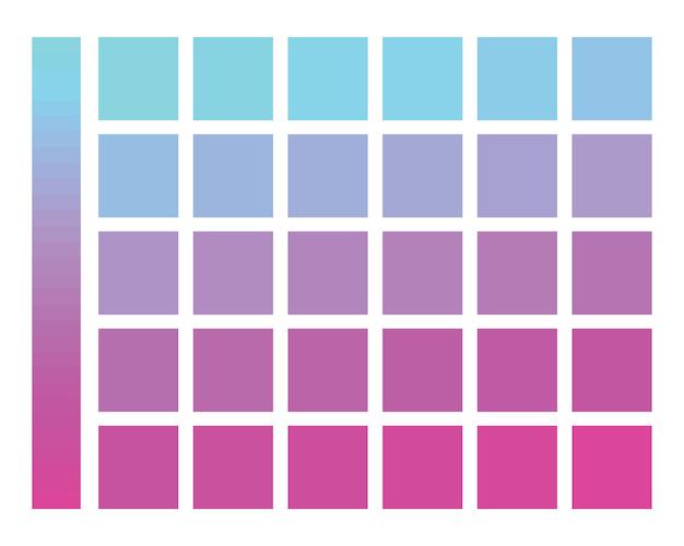 Esquema de color degradado de azul a rosa