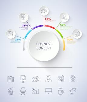 Esquema de concepto de negocio en la ilustración